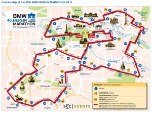 Berlin Marathon - læg mærke til de 40-45 sving og kurver. (klik for at forstørre)